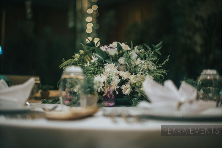 Table centerpiece flowers decorations Marriott Event Saudi